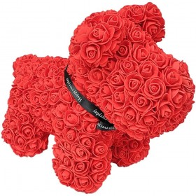 Chien en Roses - Rouge