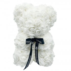 Ours en Roses - Blanc