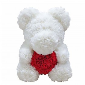 Ours en Roses - Blanc Cœur...