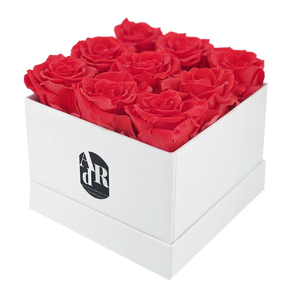 Coffret 9 Roses Rouges
