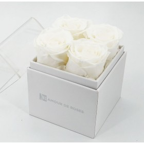 Coffret 4 Roses Blanches