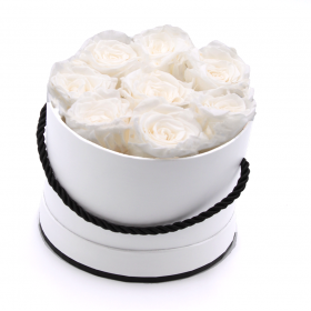 Coffret 8 roses -blanches