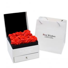 Ecrin blanc 9 roses