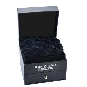 Ecrin noir 9 roses -noires